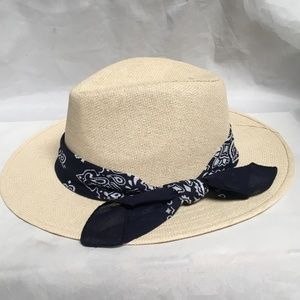 Cara New York Blue Bandana Trim Brim Straw Hat